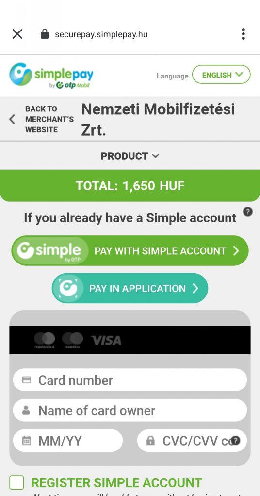Zo gebruik je Mobiljegy; mobiele OV-kaart in Boedapest, screenshot van afrekenen via Simple Pay
